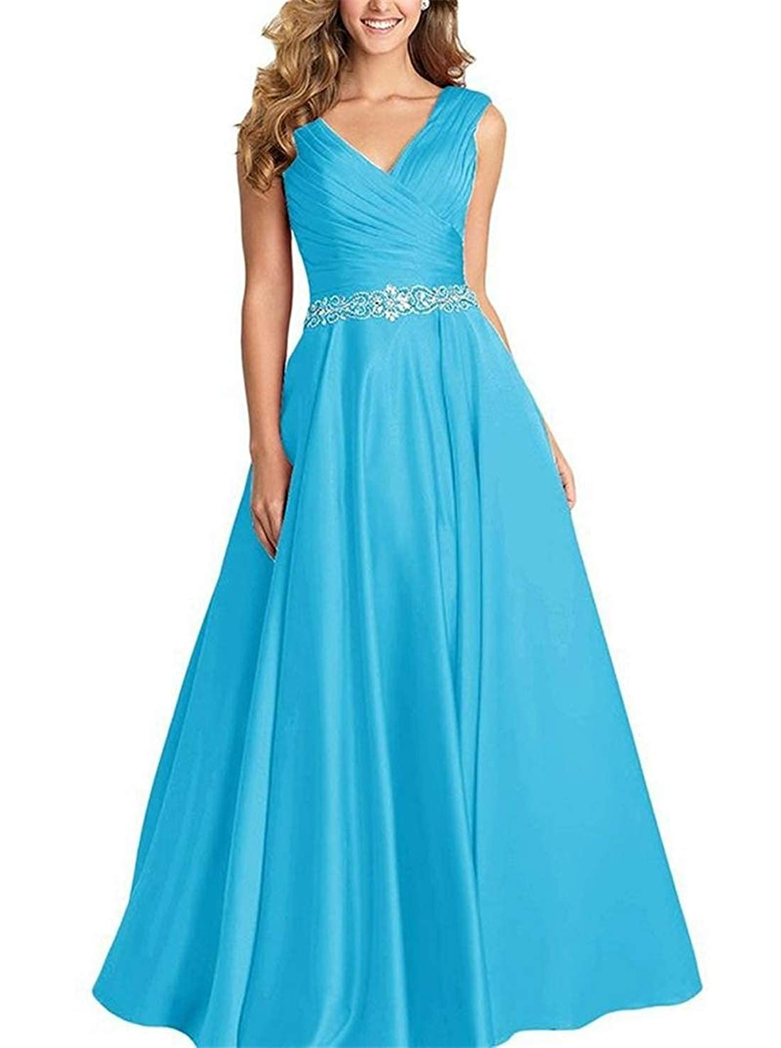 Turquoise Stylefun Womens Long Beaded Prom Dress A Line VNeck Party Evening Gowns XIN004