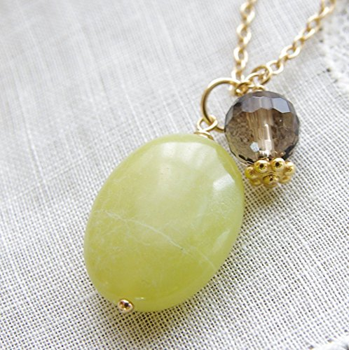 Jade Stone Necklace Smoky Quartz Gemstone Pendant 14kt Gold Filled Chain Green Smoky Quartz Pendant
