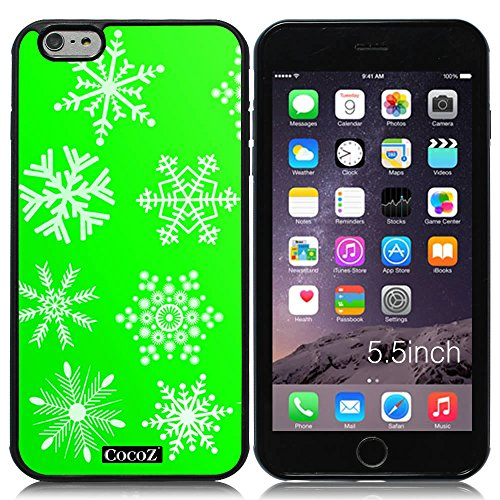New Apple iPhone 6 s Plus 5.5-inch CocoZ® Case Beautiful Christmas Snow TUP Material Case (Green&Black TPU Snowflake 7) (Pink Problem Womens T-shirt)