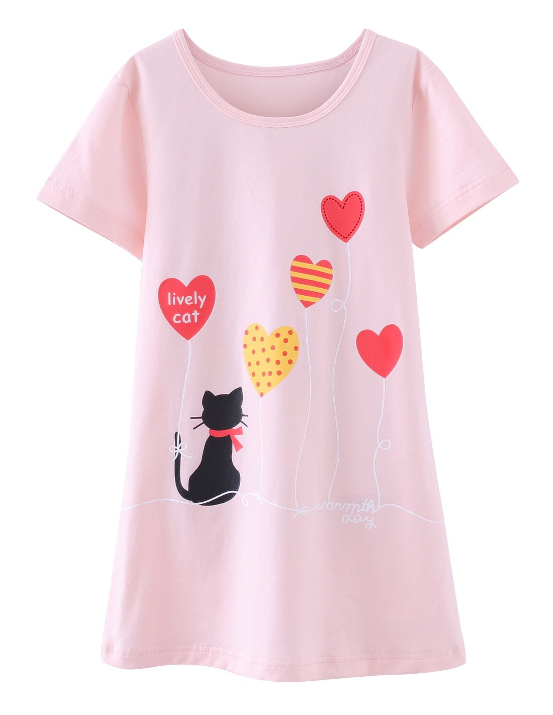 Girls Summer Nightgown Short Sleeve Sleep Dresses Candy Children Pajamas for Toddler