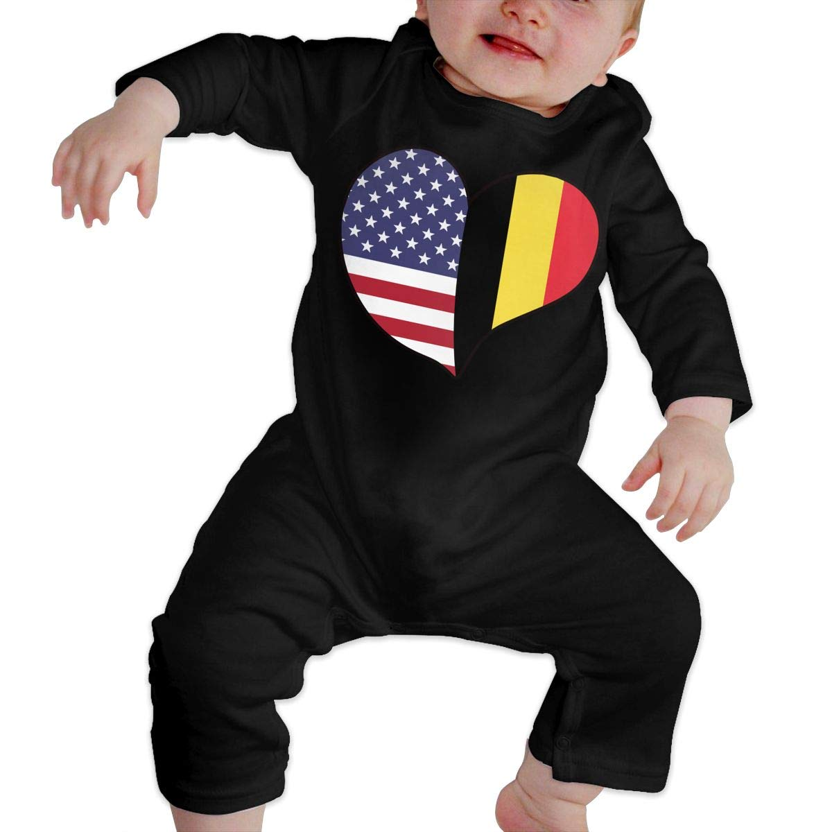A1BY-5US Infant Baby Boys Girls Cotton Long Sleeve USA Belgium Flag Heart Baby Clothes Funny Printed Romper Clothes