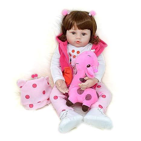 ba48bdbc83699 Realistica Bambola Reborn Femmina Silicone Bambina Reale Vestito Rosa  Scarpe Bianche con Giocattolo Giraffa 60 cm