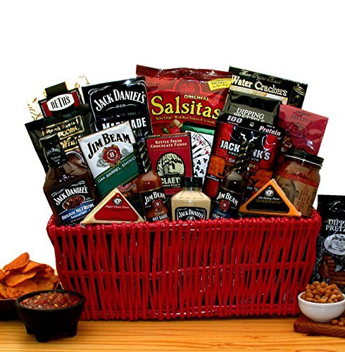 Gourmet BBQ Gift Basket -Jim Beam & Jack Daniels Gourmet Gift Basket -Great Gift for Men