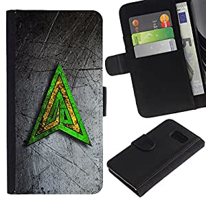 Planetar® Colorful Pattern Flip Wallet Leather Holster Protective Skin Case Cover For Samsung Galaxy S6 / SM-G920 ( Green Yellow Triangle )