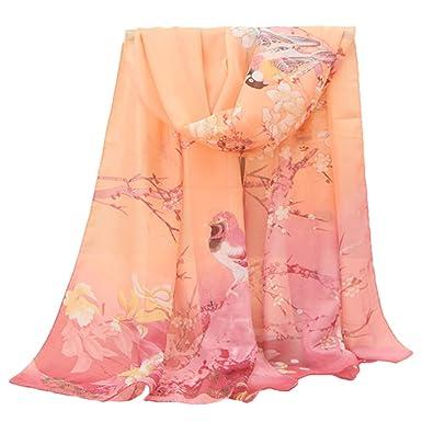 c6a8c232835e UFACE Femmes Wrap doux longue écharpe Mesdames châle mousseline de soie  foulards Papillon Imprimé