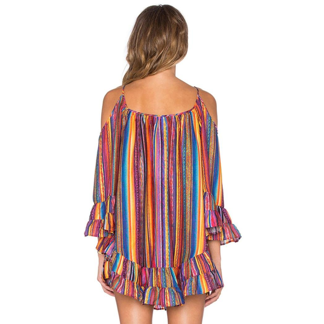 WILLTOO Womens Summer Rainbow Print Dress Fringed Beach Dress at Amazon Womens Clothing store: