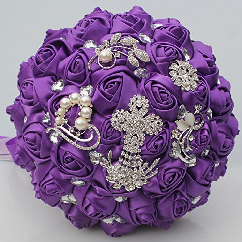 YOYOYU Luxury Purple Color Tassels Diamond Wedding Bridal Bouquet Crystal Brooch Wedding Bouquet Silk Rose Artificial Flower W-235 ()