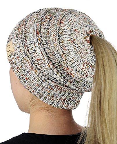 Cotton Blend Beanie - C.C BeanieTail Cotton Blend All Season Daily Messy High Bun Ponytail Beanie Hat, Confetti Ivory