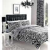 ZEBRA PRINT DUVET COVER - Black & White Bedding Cotton Blend Quilt Cover Bed Set Double Duvet Cover ( luxury boys girls )