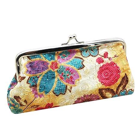 Ruikey Cartera de Flores de Lona Carteras Wonderful monederos Tela pequeños Mujer monederos de Mujer para