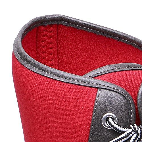 Tongpu Womens Mid Claf Bottes De Pluie Patchwork Extérieur Pluie Chaussures Rouge