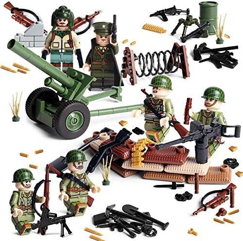 ATING Lot de mini figurines de soldats am/éricains de la Seconde Guerre mondiale Compatible avec larm/ée allemande