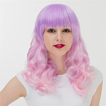 Gai Hua Home Harajuku Gradient Long Curly Hair Hood Girls Anime Wig COS (Color :