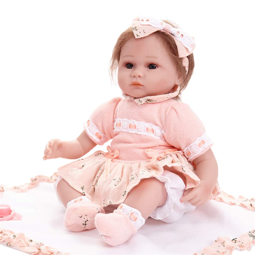 Baosity 17inch Cute Flexible Vinyl Reborn Baby Girl Doll Model in Pink Clothes Set