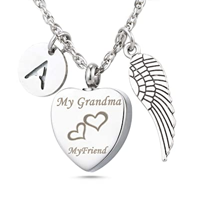 My Grandma My Angel Cremation Urn Jewelry Keychain Memorial Ash Keepsake 26 Alphabet Angel Wings Charms Pendant Jewelry Pendants