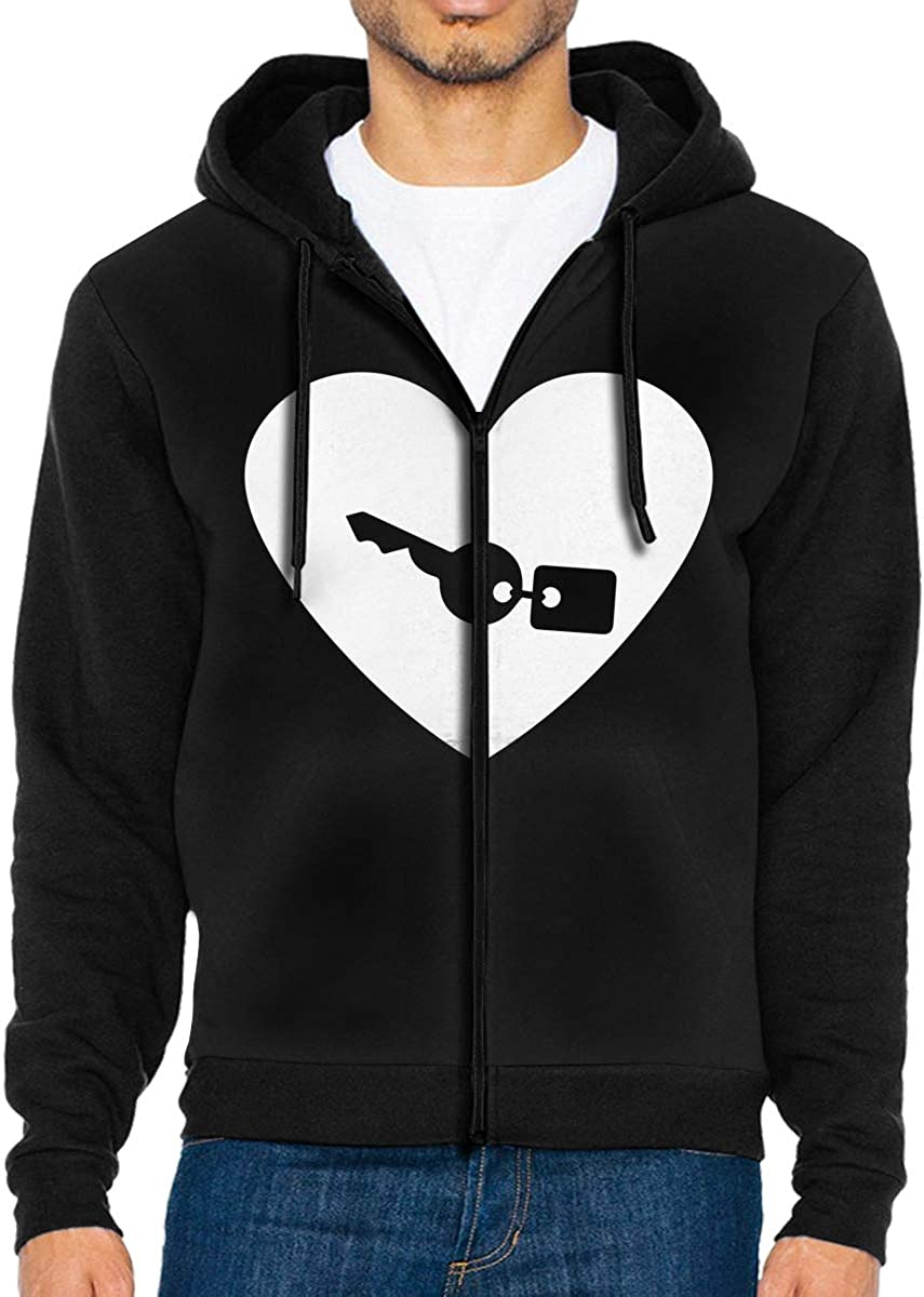 LD6DBGK Heart Key Mens Zip Front Hoodie Sweatshirt Outwear