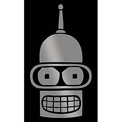 "MR.CI Bender Face Futurama Vinyl Decal Sticker|Cars Trucks Vans Walls Laptops Cups (Silver, 5.5""): Automotive"