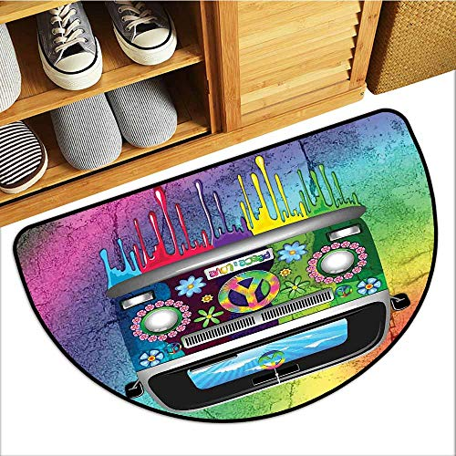 - Magic Doormat, Groovy Custom Doormats for High Traffic Areas, Old Style Hippie Van with Dripping Rainbow Paint Mid 60s Youth Revolution Movement Theme (Multi, H16 x D24 Semicircle)