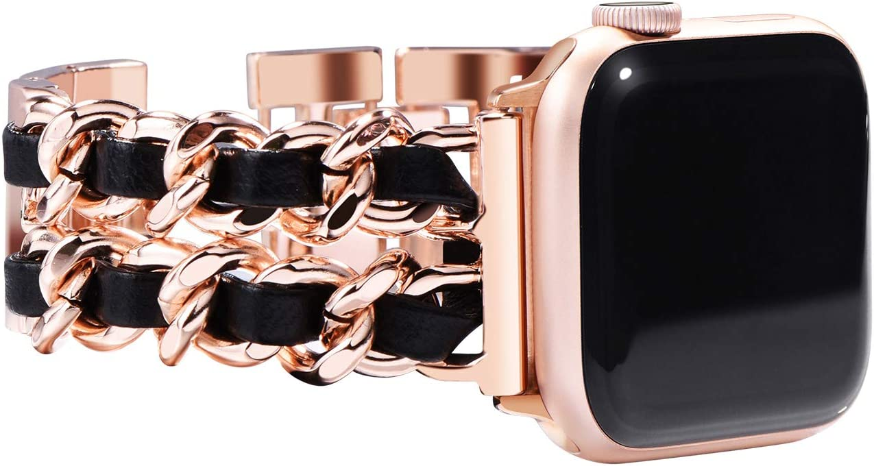 NewWays Compatible for Apple Watch Band 38mm Women, Jewelry Bracelet for Apple Watch Band 40mm Series 6 SE Series 4 Series 5 iwatch Bands 38mm Womens, Rose Gold Link with Black Leather