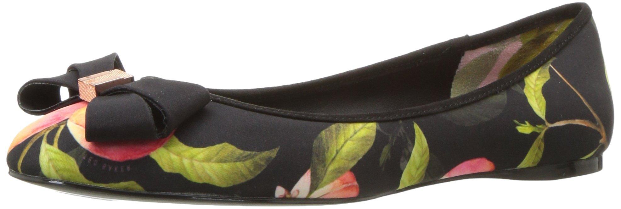 Ted Baker Women's Immet Ballet Shoe, Peach Blossom Black Textile, 9.5 M US