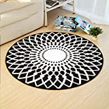 Black and White Lotus Pattern Round Rug Living Room Floor mat Computer Chair Cushion Study Basket mat (Size : 120 cm Diameter)