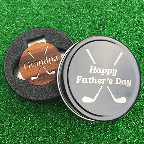 (The Quintessential Hostess GRANDPA Engraved Golf Hat Clip and Ball Marker in Presentation Tin Teak Personalized for Dad Father's Day Gift)