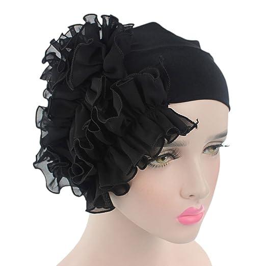 9f412f65a8e Litetao 2017 Women Flower Chemo Beanie Shower Scarf Turban Head Wrap Cap  Headband (Black)