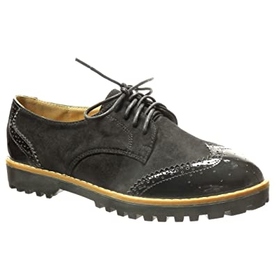 4cc344e8b343eb Angkorly - Chaussure Mode Derbies bi-matière Femme perforée Verni Talon  Bloc 2.5 CM -