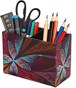 QIELIZI Pen Pencil Holder Cup,PU Leather Pattern Desk Organizer Case Office Accessories Container Box for Home Office Bedroom(1-Fractal Flower)