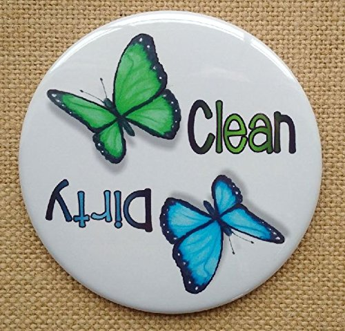 Big Magnet: 3.5', Dishwasher, Clean or Dirty Dishes, Butterflies, From Original Colour Pencil Art
