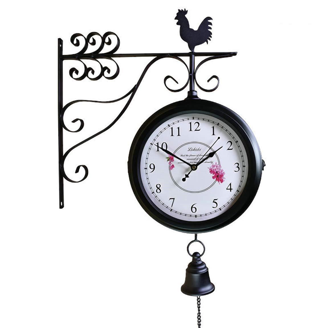 ホームデコレーションクリエイティブパーソナリティウォールクロックJYT、 アメリカンリビングルームアイロンサイレント両面時計ヨーロッパアンティークノルディックレストランの時計レトロクラフト両面時計の時計9 ファッション雑貨   B07RGJQCRH