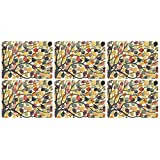 Pimpernel 40.1 x 29.8 cm MDF with Cork Back Dancing Branches Placemats, Set of 6, Multi-Colour