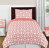Modern White and Coral Diamond Geometric Peach Twin Bed Bedding Girl Kids Childrens Comforter Sheet Set