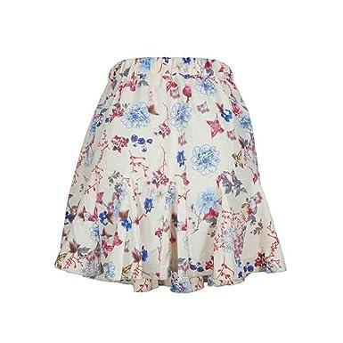 6028ee8a7617f Wanhuzyo Summer Women Boho Midi Skirts Floral Print Ruffle A Line ...