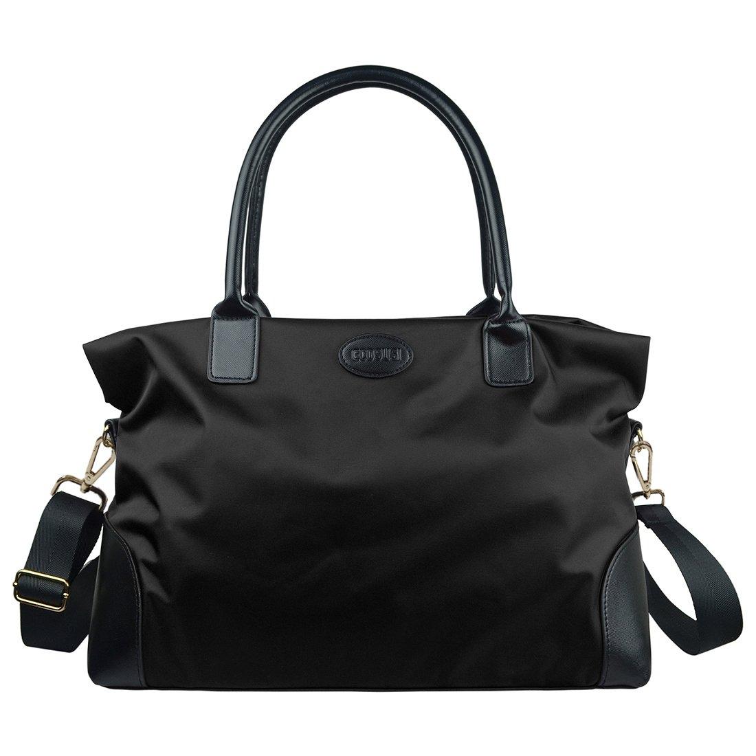ECOSUSI Unisex Large Travel Weekender Bag Duffle Bag Gym Totes in Trolley Handle, Black by ECOSUSI