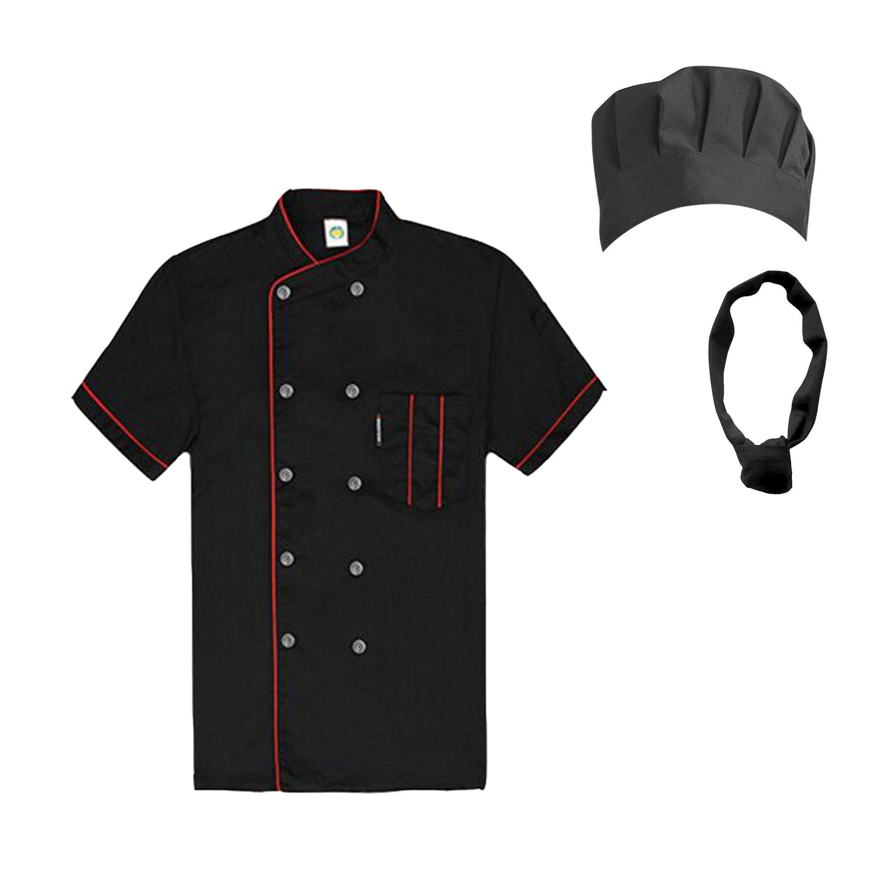 TopTie Unisex Short Sleeve Cooking Chef Coat Jacket & Hat & Bandana Set-Black with red-L