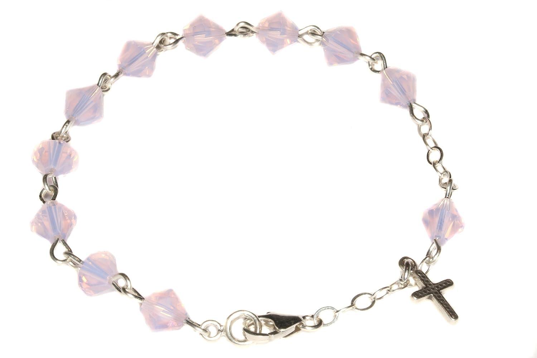 Child Rosary Bracelet made w//Rose Water Opalized Pink Swarovski Crystal Elements-October Communion, more