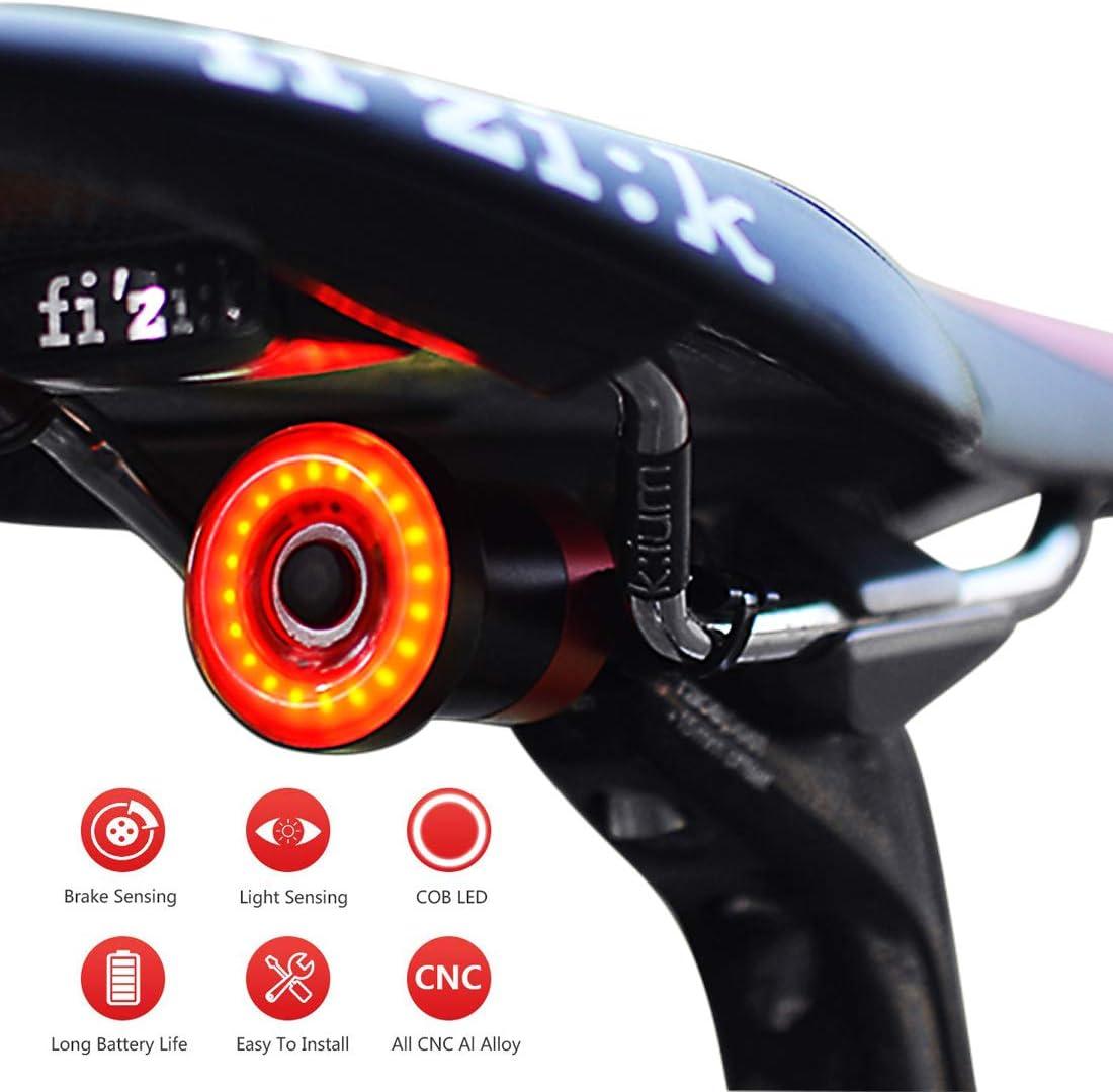 1 one enjoy Luz de Cola para Bicicleta Inteligente Ultra Brillante, luz de Bicicleta Recargable, Encendido/Apagado automático, Luces de Bicicleta LED Impermeables IPX6 (Black)