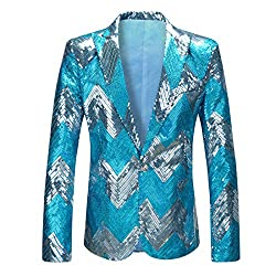 Men's Gradient Blue Sequins Blazer