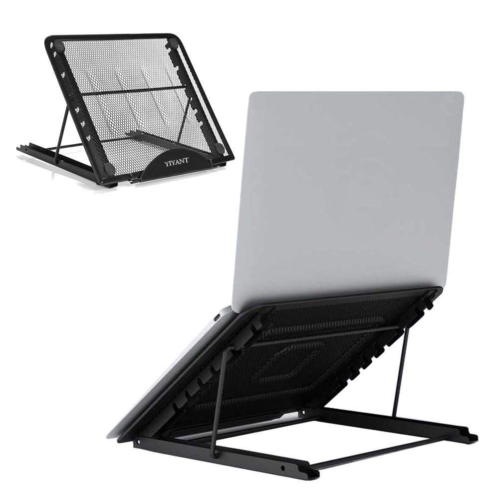 "Laptop Tablet Stand, Ventilated Adjustable Laptop Computer Holder Desk Stand, Universal Lightweight Ergonomic Tray Cooling Laptop Stand for All 10-15"" Laptop Notebook/Tablet (Black)"
