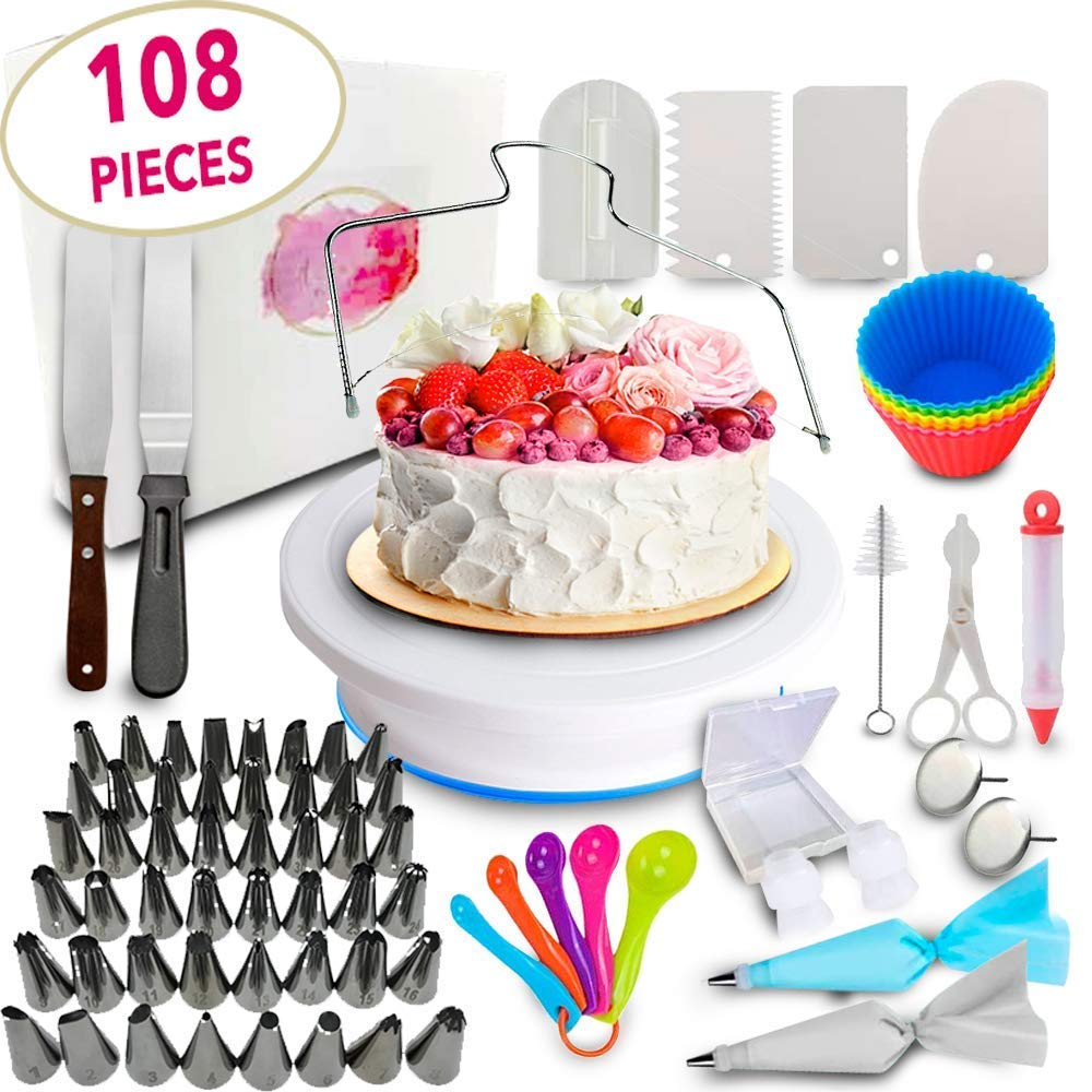 Cake Decorating Supplies kit- 108 Baking Supplies with 48 numbered Icing Tips & pattern Chart, Non-Slip Cake Rotating Turntable, Frosting & Piping Bags, Icing Spatulas & Smoother, Pastry Tools
