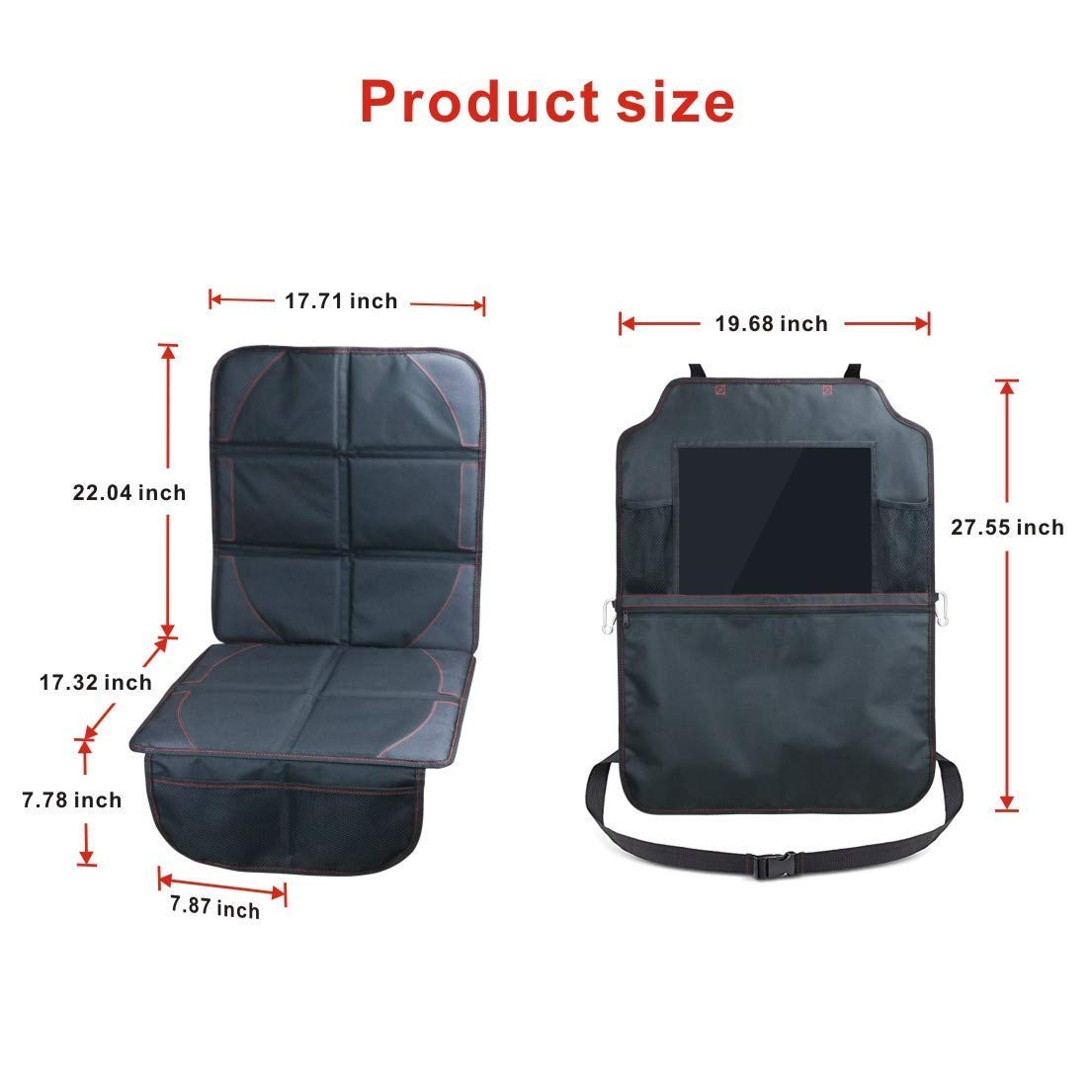 Waterproof Seat Back Protectors with 12 Tablet Holder Car Organisers Auto Companion Kick Mats