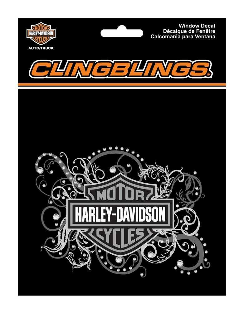 ハーレーダビッドソン バー&シールド フィリグリー クリング ブリング シルバー ウィンドウ デカール CG1120   B00GVHTCI2