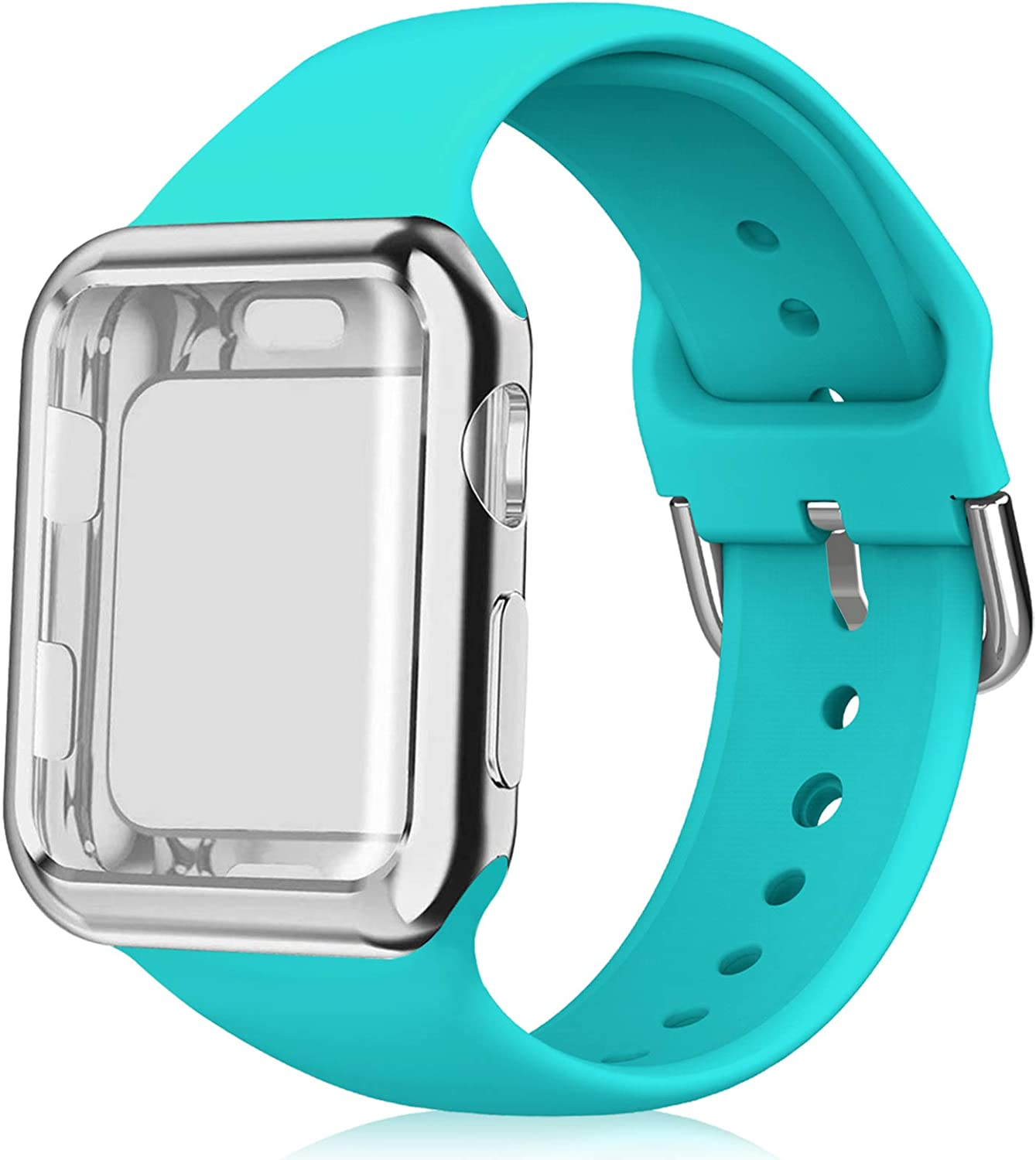 Huishang Compatible for Apple Watch Bands 38mm 40mm 42mm 44mm Women Men with Screen Protector Case,Soft Silicone Sport Replacement Wristband for iWatch Series SE 6 5 4 3 2 1