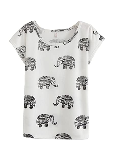 89ccb183132fa7 Amy Babe Women Casual Graphic Tribal Elephant Print Loose Tee Shirt Tops at  Amazon Women s Clothing store