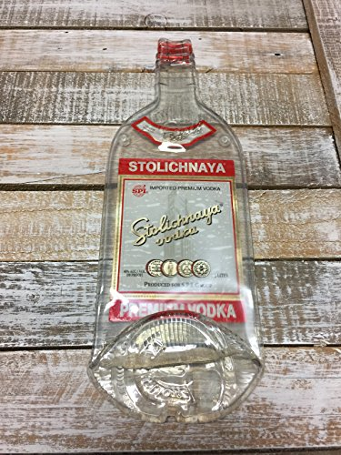 Landfilldzine Stolichnaya Vodka Handmade Melted Bottle Serving Tray - Great one Kind Gifts Stoli
