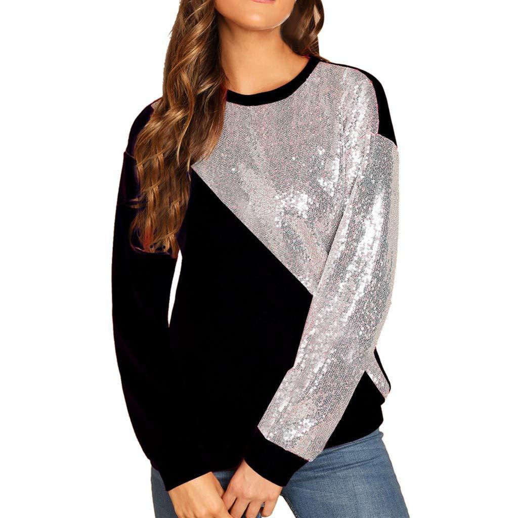 TIREOW Mode Frauen Blings Pailletten Farbblock Oansatz Patchwork Sweatshirt Pullover