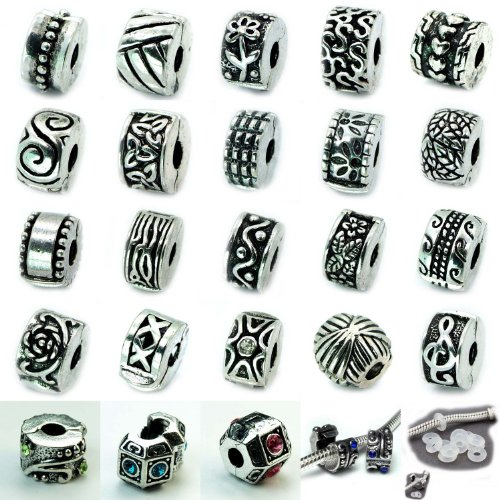 Ten Antique Silver Clip Lock Bead Charms with Rubber Stopper - Charmed Kays Memories Jewelry
