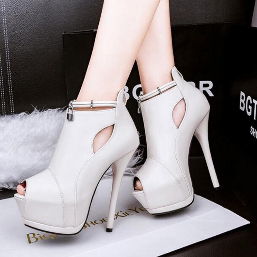 L@YC Women High Heels Nightclub Waterproof Platform Hollow 14cm Fine Fish Mouth Sandals