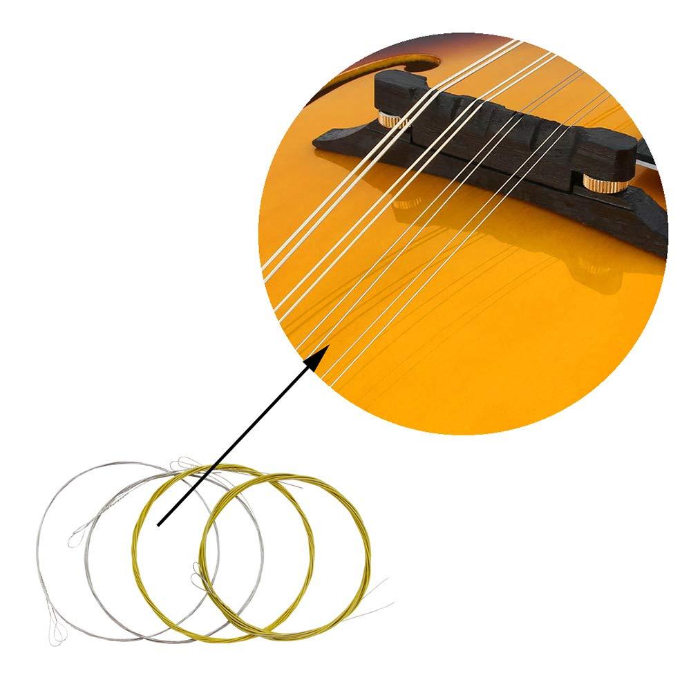 .010-.034 Muslady IRIN M101 Set completo Cuerdas de mandolina Bronce Herido Acero inoxidable Color Plata y Gloden